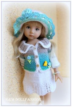 """OOAK handknitted outfit for Effner Little Darling 13"""""""