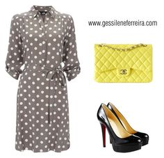 vestido by gessilene-ferreira on Polyvore featuring moda, Wallis, Christian Louboutin and Chanel