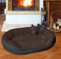 BedDog 4in1 Hundebett SABA L bis XXXL, 6 Farben wählbar, Hundekissen Hundesofa Hundekorb, schwarz/braun XXL