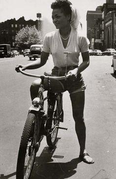 <3 eartha kitt on a bike in nyc 1952
