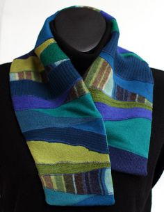 Ocean blue and green wool scarflette with crepe by RozeScarfStudio
