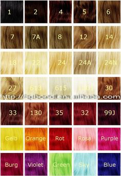 Range of hair colours