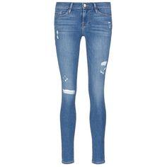 Frame Denim 'Le Skinny de Jeanne' distressed jeans (860 BRL) ❤ liked on Polyvore featuring jeans, blue, destructed skinny jeans, destroyed jeans, frayed skinny jeans, vintage skinny jeans and ripped jeans