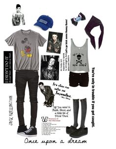 """At Disneyland w/Andy-Day Seven"" by literaldisaster ❤ liked on Polyvore featuring Disney, Balmain, Converse and Vans"