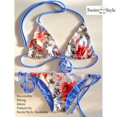 Reversible String bikini sewing Pattern for Women. Includes sizes for Women Multi size XS to XXXL or Size 8 to 20 Australian sizing This pattern & all Swim style patterns can be printed on US Paper & A4 paper. Swim style pattern tiles fit on both sizes of paper . Metric cm S 08 10