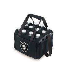Brookstone Twelve Pack Neoprene Drink Tote Bag - NFL, Oakland Raiders - Black