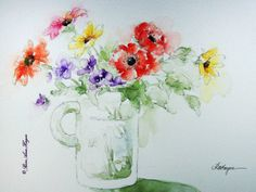 Mixed Bouquet in Glass Mug Print of Watercolor Painting Flowers