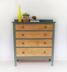 Rustic chest of drawers painted in green using mineral paint by Annabel Duke. Lovely vintage piece with lots of storge room. #painteddresser #rusticfurniture #greenfurniture #chestofdrawers #bedroomstorage