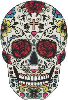 Sugar Skull - 164 x 125 stitches - Cross Stitch Pattern Pdf - INSTANT Download…