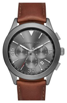 MICHAEL Michael Kors 'Gareth' Chronograph Leather Strap Watch, 43mm available at #Nordstrom