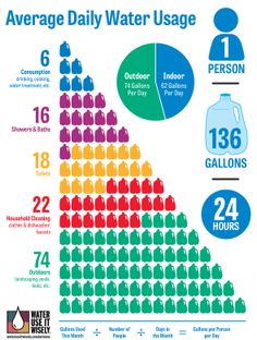 How much water does the average person use each day, and for what purposes? This info graphic breaks it down. For simple steps you can take to use less, visit www.wateruseitwisely.com.