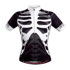 Wosawe Squelette Maillot de cyclisme à manches longues MTB Bike Outdoor Shirts