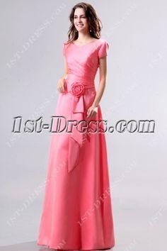 Modest Coral V-neckline Short Sleeves Bridesmaid Dress:1st-dress.com
