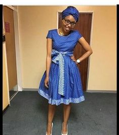 Ideas of Shweshwe Styling with Modern Outfits - Reny styles African Wedding Dress, African Print Dresses, African Print Fashion, Africa Fashion, African Fashion Dresses, African Dress, Setswana Traditional Dresses, South African Traditional Dresses, African Attire