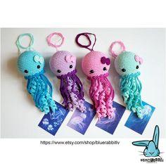 Amigurumi Jenny the Jellyfish crochet pattern. Adorable little jellyfish crochet dolls Double Crochet, Single Crochet, Easy Crochet, Crochet Baby, Free Crochet, Crochet Patterns Amigurumi, Amigurumi Doll, Crochet Dolls, Crocheted Jellyfish