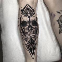 Fresh Blackwork Skull Leg Tattoo From Otheser! #blackwork #skull #geometry…