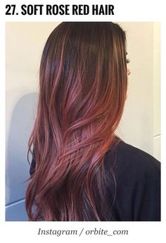 Soft rose red balayage hair colour