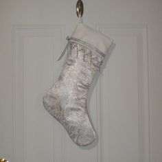 Victorian Christmas Stocking in Silver Paisley Brocade with Beaded Trim. $26.95, via Etsy.