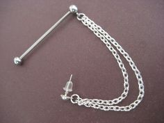Industrial Cuff And Chain Barbell Piercing 14g 14 Gauge G Ear Bar Jewelry. $18.00, via Etsy.