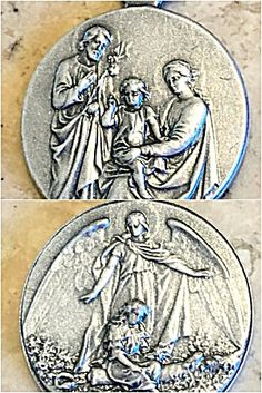 Vintage Medal Holy Family Jesus Saint Joseph Virgin Mary Angel (Image1)Rare and Beautifully detailed vintage holy medal pendant / charm featuring the holy family: Saint Joseph, Blessed Mother Mary and the Christ child Jesus. The Back features a Guardian Angel watching over a little girl in a field of flowers. Perfect for a charm bracelet, pendant or Christening, Baptism, Communion, Conformation or newborn baby gift.