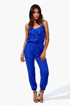 Ruffle Jumpsuit - Blue