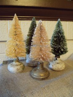 Bottle Brush Trees on old Door Knobs - great idea!