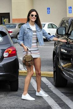 Alessandra Ambrosio wearing Chloe Faye Backpack, Common Projects Original Achilles Sneakers, Grlfrnd Cara Denim Jacket and Ale By Alessandra Andressa Sweater Dress