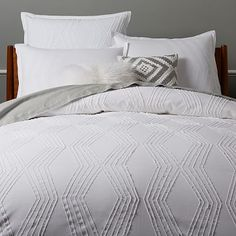 Roar + Rabbit Zig Zag Texture Duvet Cover, Full/Queen, White at West Elm - Bedding - White Bedding - White Bedroom Decor Duvet Bedding, Bedding Sets, Beach Bedding, King Duvet, Queen Duvet, Textured Duvet Cover, Textured Bedding, Modern Bunk Beds, White Duvet Covers