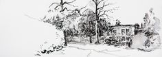 Parklaan, Bussum, the Netherlands. © Lex Hamers. Drawing on paper, 12,5 x 35 cm. 25/03/2013