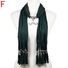 dark green jewelry  scarf  with strip tassel and beaded decoration ,NL-2030F