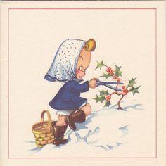 Midge's Mistletoe 1940s Vintage Card Christmas by EphemeraObscura