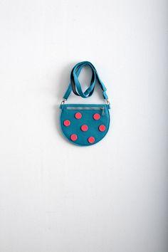 Turquoise Felt Bag Purse Polka Dot Bag Kawaii Cute Bag by Marewo, $35.00