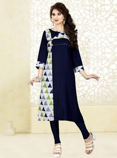 5d33ef396eb Navy Blue Rayon Readymade Kurti 124614. Indian Cloth Store