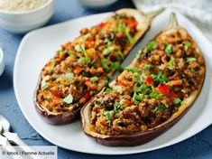 Buy Minced meat quinoa vegetables stuffed eggplants by Arzamasova on PhotoDune. Minced meat quinoa vegetables stuffed eggplants on a stone background. Beef Recipes, Vegetarian Recipes, Food Porn, Mince Meat, Eggplant Recipes, Fat Burning Foods, Tofu, Vegetable Pizza, Good Food