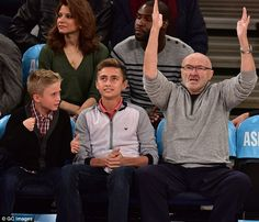 Nice shot: Phil Collins took his sons Nicholas and Matthew to a New York Knicks basketball match in Madison Square Garden on Friday Phil Collins, Basketball Photos, Madison Square Garden, Old Singers, Detroit Pistons, New York Knicks, Cool Photos, Sons, Handsome