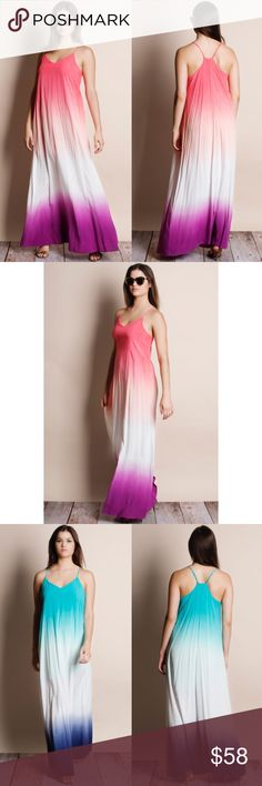 Dip Dye Ombré Maxi Dress Dip dye ombré maxi dress. Available in black-jade, coral-magenta, royal blue-purple, teal-navy. This listing is for CORAL-MAGENTA. This is an ACTUAL PIC of the item - all photography done personally by me. True to size. Adjustable straps. Brand new with tags. NO TRADES DO NOT BOTHER ASKING. Bare Anthology Dresses Maxi