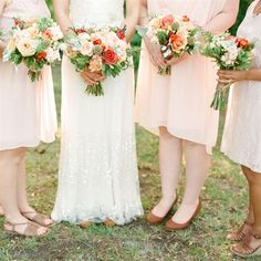 Rustic Bouquets in peach and coral