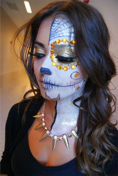 half glam. half day of the dead. amazing makeup for halloween!
