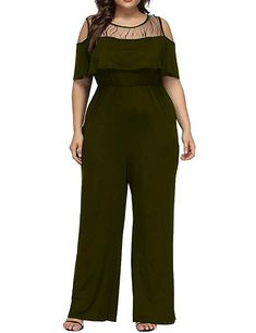 04c01c2b1b9 Allegrace Women s Plus Size Lace Cold Shoulder Jumpsuit Flounce Sleeve Long  Rompers Army Green 1X Long