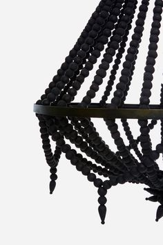 Open Wooden Beaded Chandelier | Black | The Block Shop