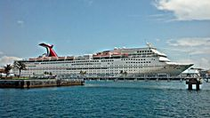 Carnival fantasy in Nassau, Bahamas port -- I went on this cruise -- it was fun!  Wished I had done more though - touring the ship.
