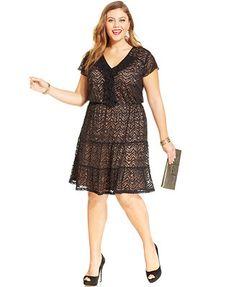American Rag Plus Size Sequin-Lace A-Line Dress