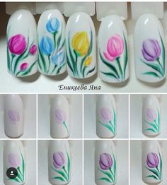Nail art Christmas - the festive spirit on the nails. Over 70 creative ideas and tutorials - My Nails Diy Nails, Cute Nails, Pretty Nails, Manicure Steps, Tulip Nails, Flower Nails, Nail Designs Spring, Cool Nail Designs, Spring Nails
