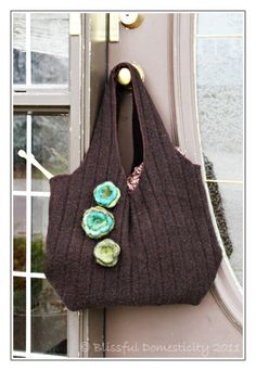 Upcycled felted sweater bag - made from a thrift store find!