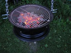 DIY Steel Car Rim Barbecue Grill by Bevin Chu October 2012 Taipei, China Back in the late I had the idea of turning an ordinary . Grill Outdoor, Outdoor Fire, Outdoor Decor, Outdoor Camping, Grill Diy, Barbecue Grill, Rim Fire Pit, Fire Pits, Rims For Cars