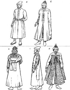 Russian Folk Ethnic Costume with Schemes Patterns Russian