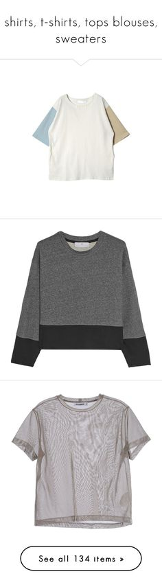 """""""shirts, t-shirts, tops blouses, sweaters"""" by stnsslva ❤ liked on Polyvore featuring tops, t-shirts, shirts, clothing - short sleeved tops, color block shirt, short-sleeve shirt, white short sleeve shirt, t shirt, loose fitting shirts and hoodies"""
