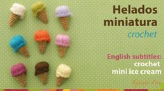 Mini video tutorial # 20: helados miniatura tejidos a crochet! English subtitles: crochet mini ice cream!