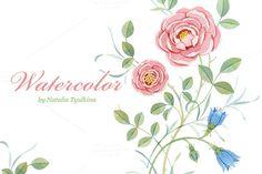 Watercolor pink & blue flowers by Natalia Tyulkina on Creative Market
