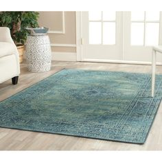 Safavieh Vintage Turquoise Viscose Rug (5'3 x 7'6) | Overstock™ Shopping - Great Deals on Safavieh 5x8 - 6x9 Rugs